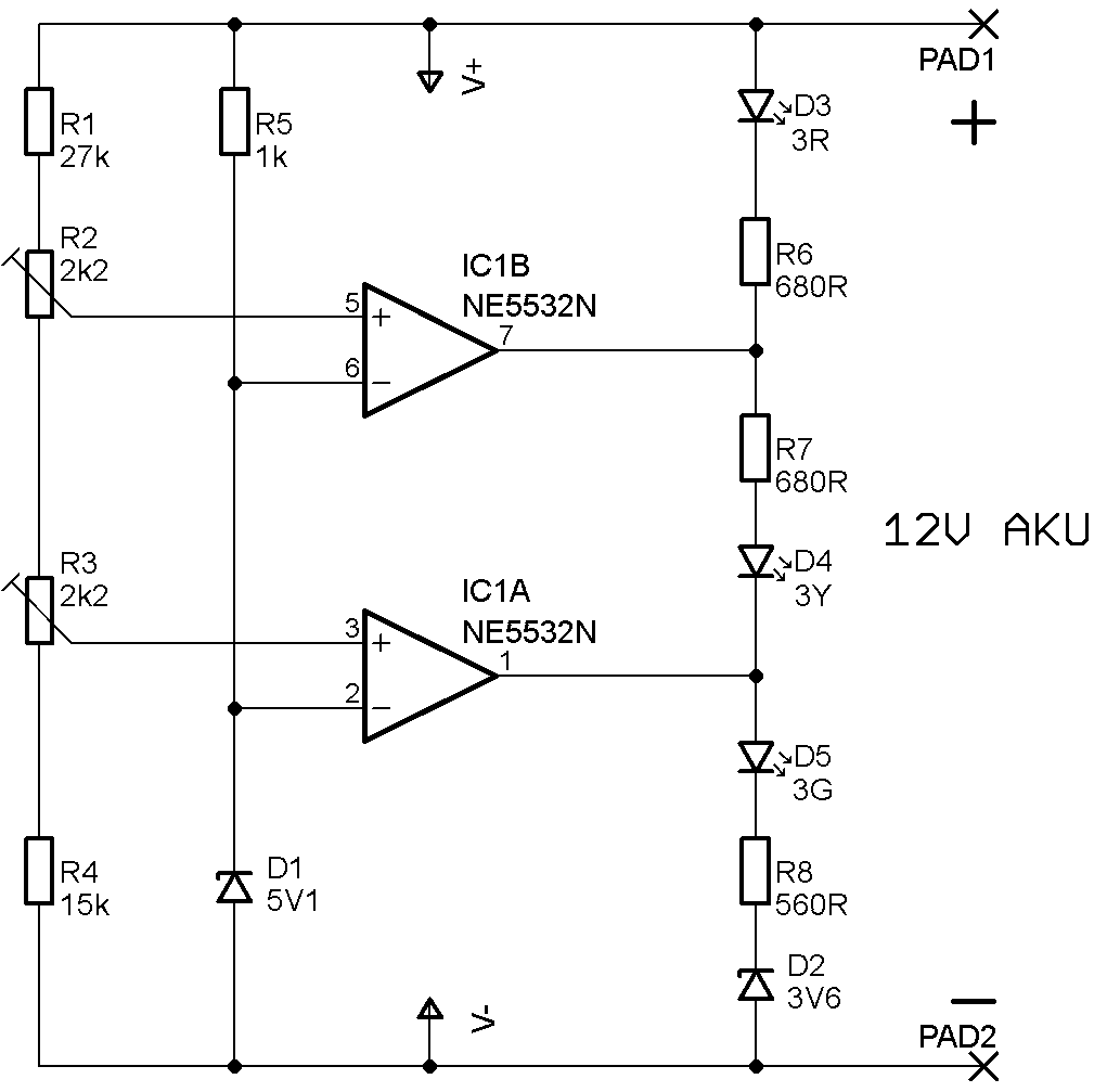 tester baterií schéma