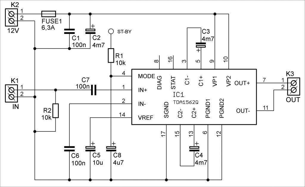 zesilovač TDA1562Q schéma