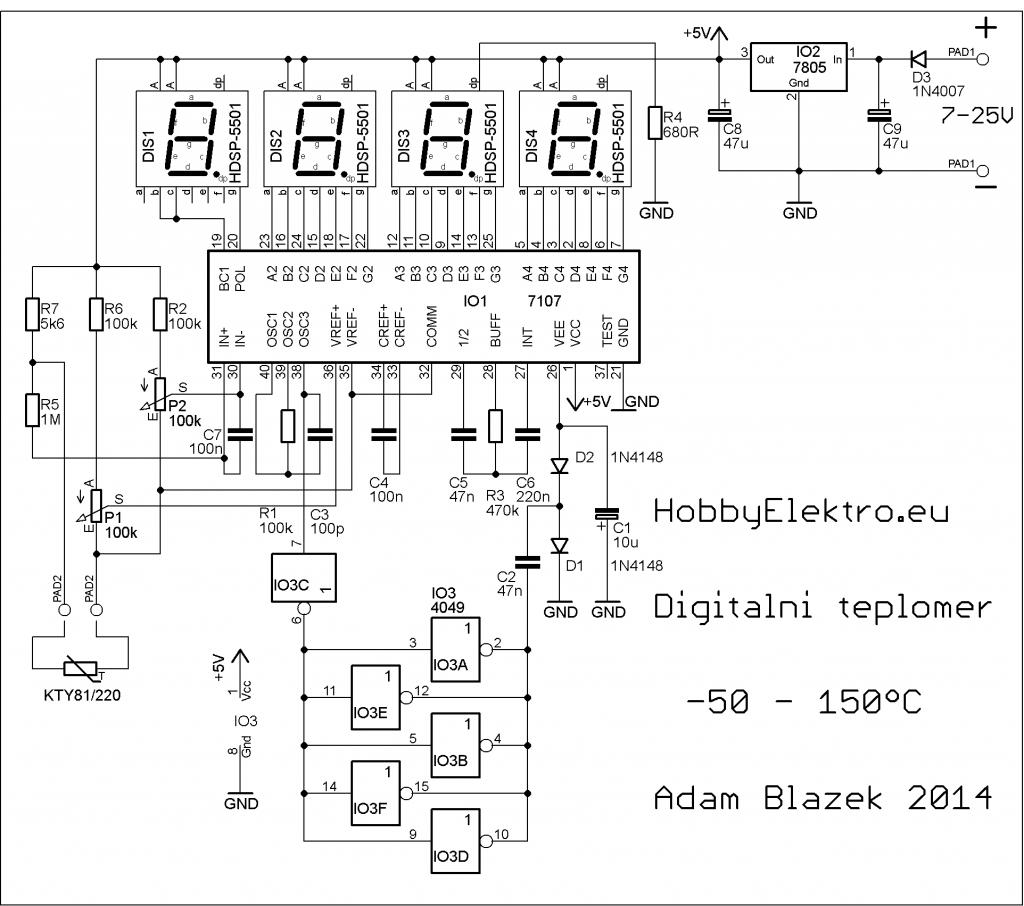 digitální teploměr schéma