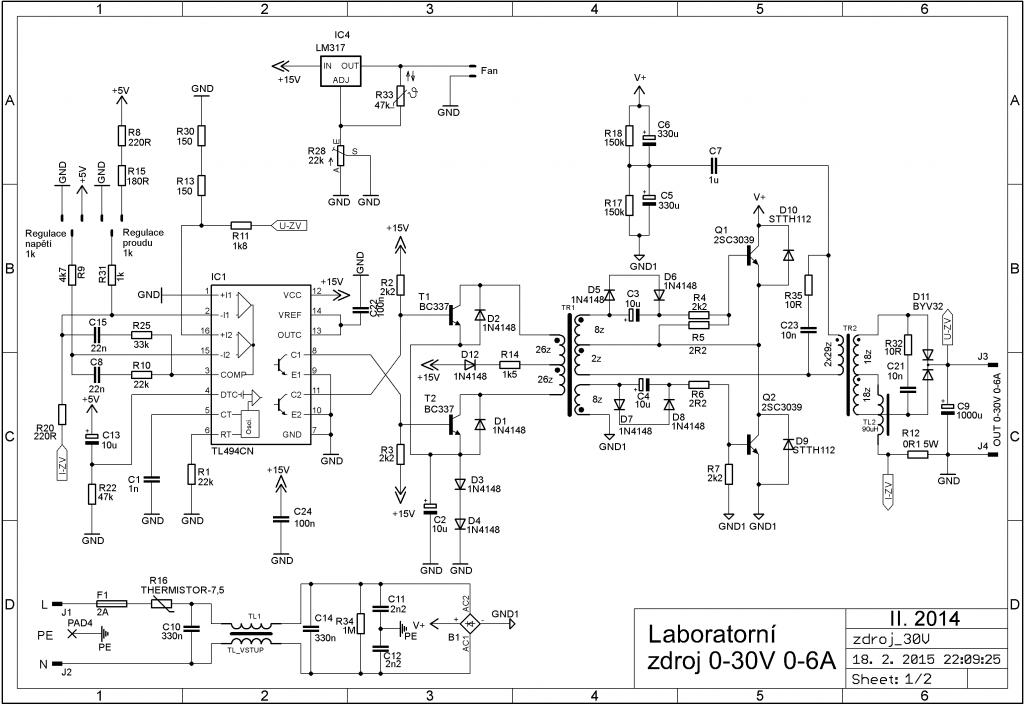 laboratorní zdroj schéma