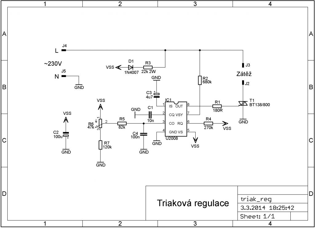 triaková regulace schéma
